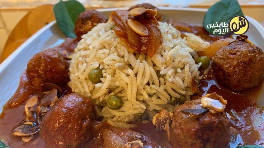 رز-ببازيلا-مع-كرات-اللحم